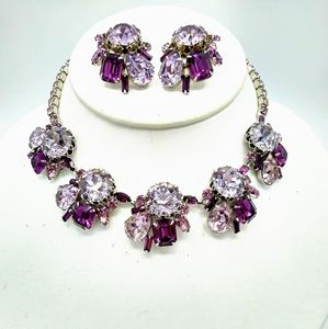 VTG Alice Caviness Purple RS Necklace Earrings Set